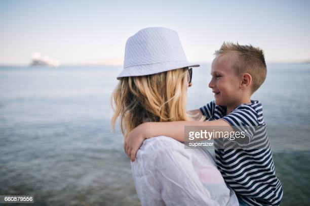 Mother and son by the sea