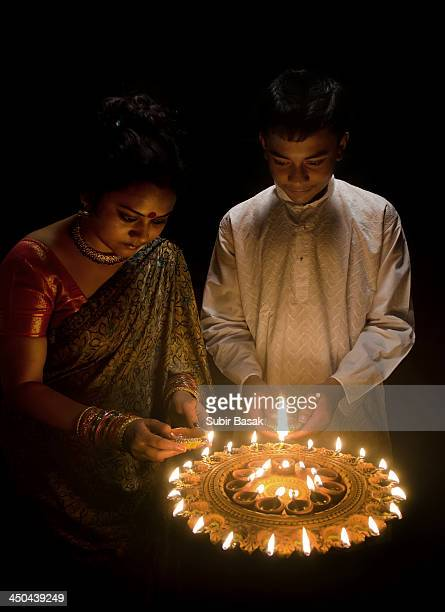 Mother and son celebrating Diwali.