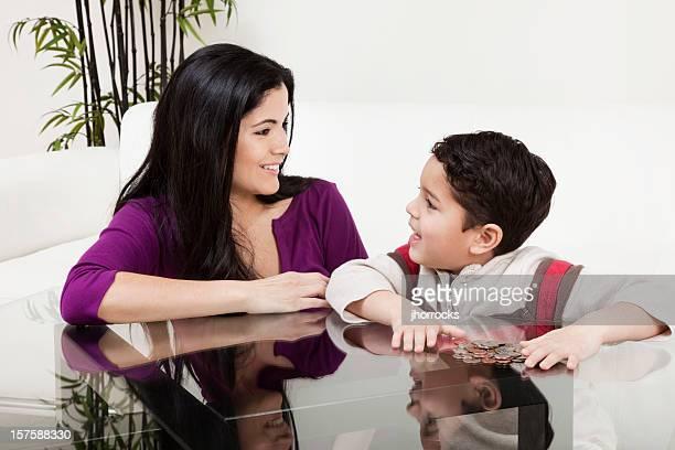 Madre e hijo recuento de cambio