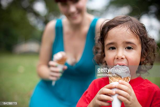 Mother and Son Eating Ice Cream