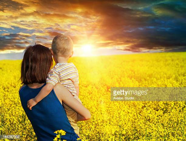 Mother and son in a field