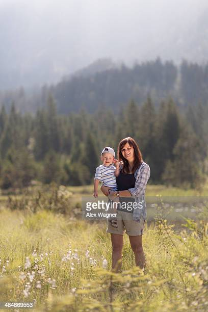 Mother and son in pure nature on a summer day