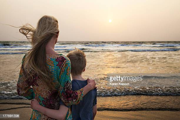 Mother and Son looking at sunset