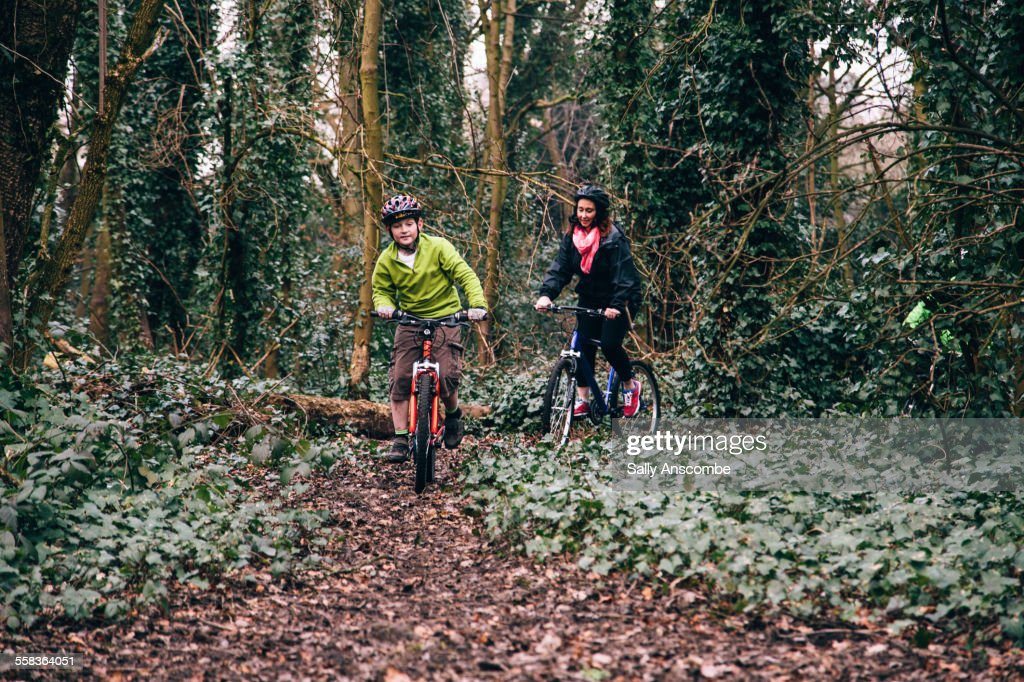 Mother and son on a bicycle ride together