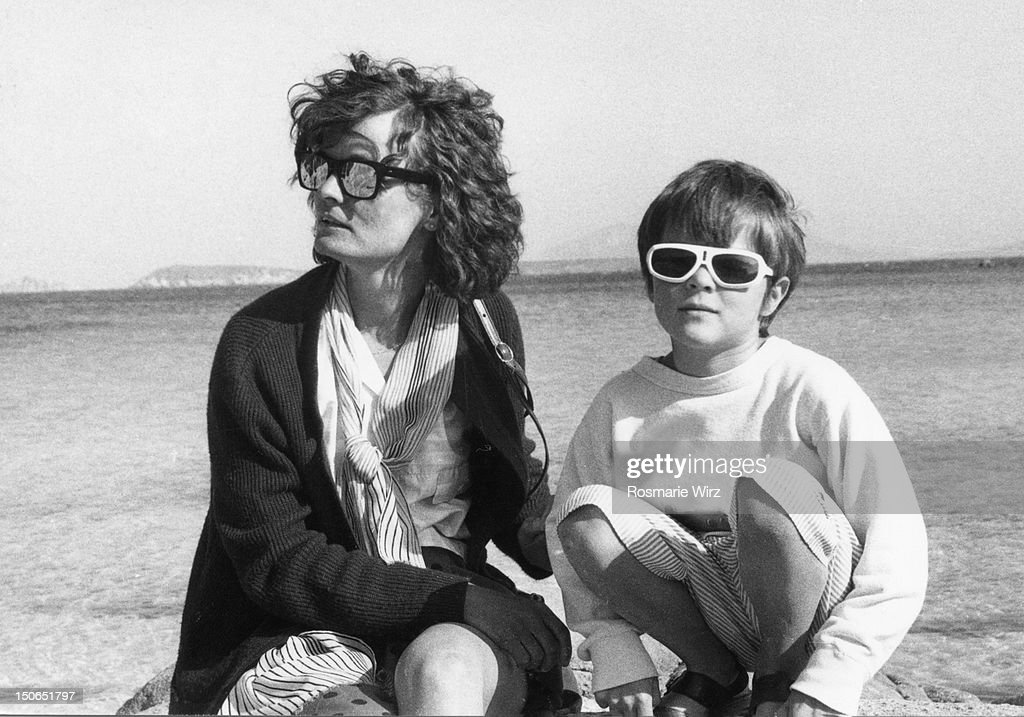 Mother and son on  beach : Stock Photo