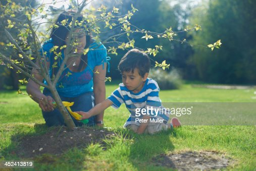 Mother and son planting tree in garden