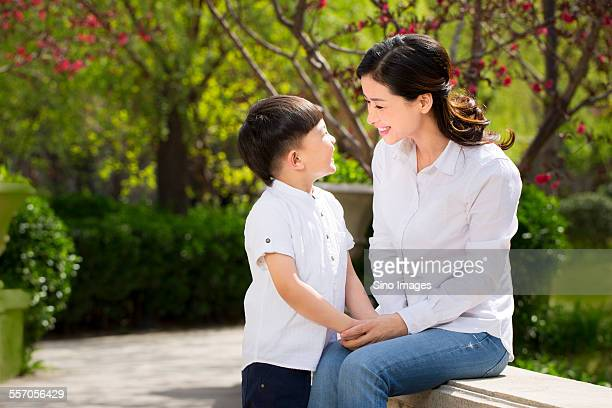 Mother and Son Playing Outdoors