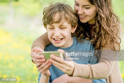 Mother and Son Taking a Selfie