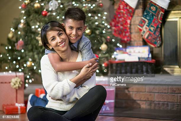 Mother and Son Together at Christmas