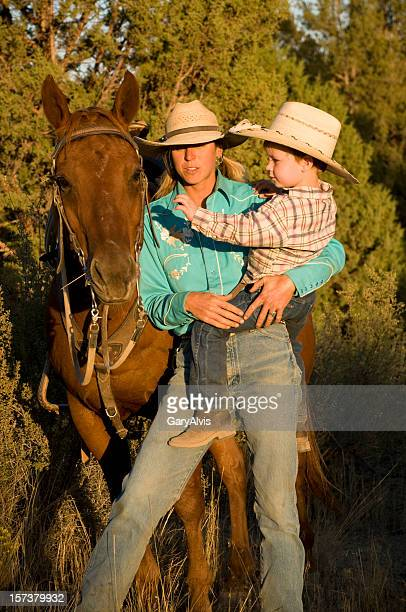 Mother and son with horse