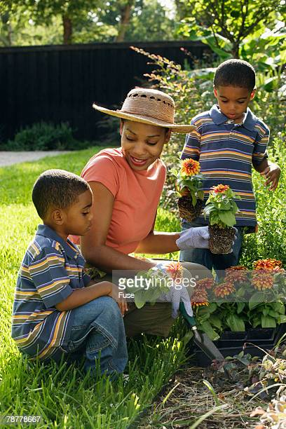 Mother and Sons in Garden