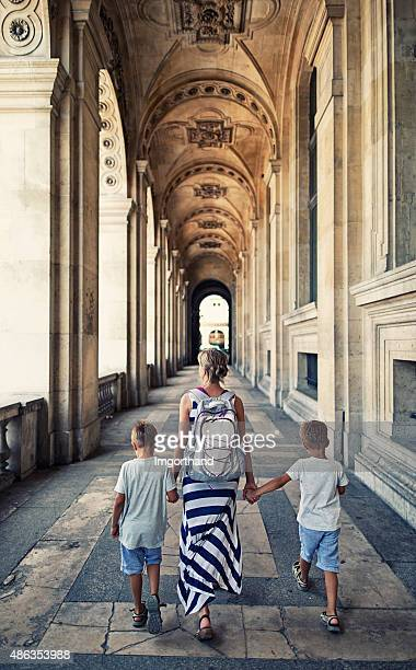 Mother and sons visiting Paris