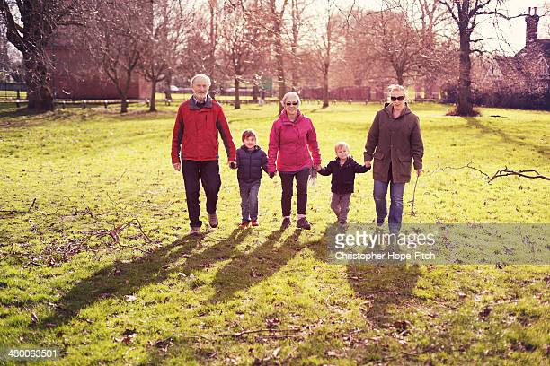 Mother and sons with grandparents