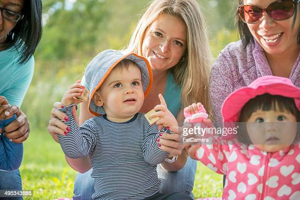 Mother and Toddlers at the Park