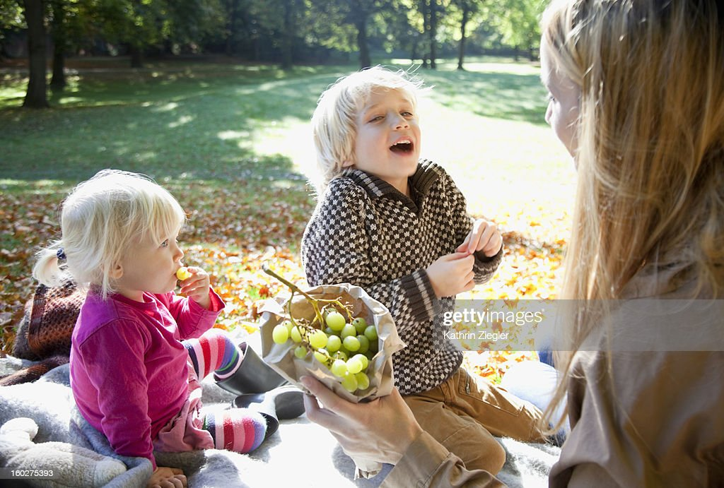 mother and two young children in the park together : Stock Photo