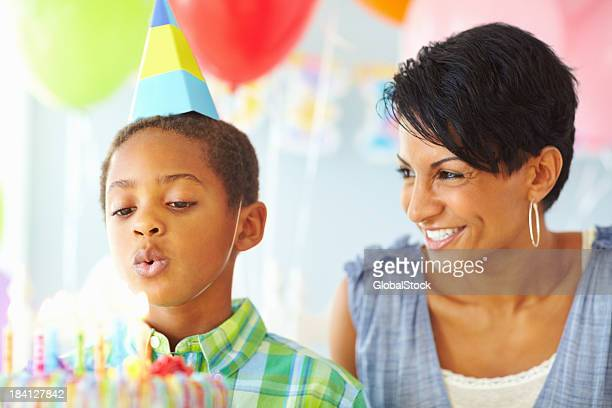 Mother celebrating her son's birthday