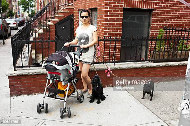 Mother, Child And Dogs On New York Street.