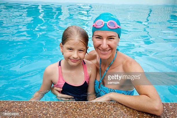 Mother &お子様用プールで、ゴーグル