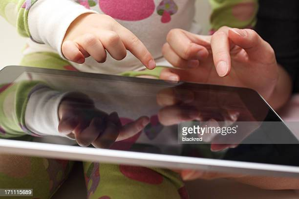 Mother Child Playing with Tablet