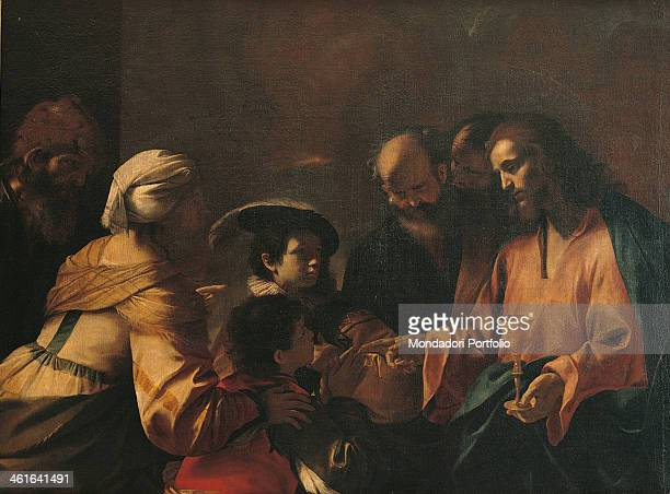A mother commits her sons to Christ or Sinite Parvulos by Mattia Preti 17th Century oil on canvas Italy Lombardy Milan Brera Collection Whole artwork...