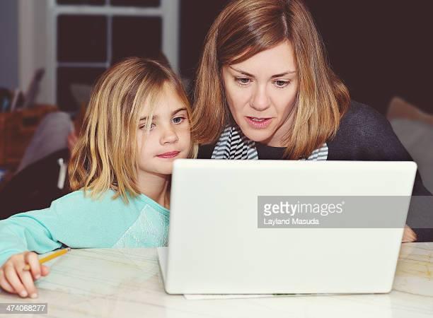Mother Daughter Laptop Homework