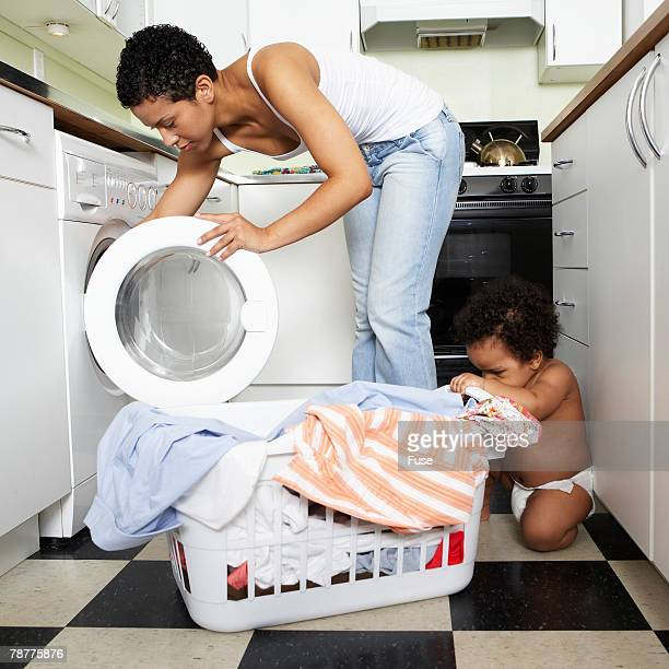 Mother Doing Laundry