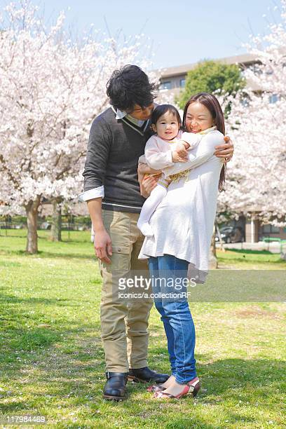 Mother, Father and Baby Girl in Park