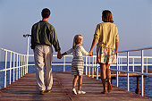 Mother, father and daughter walking along jetty, hand in hand, rear view