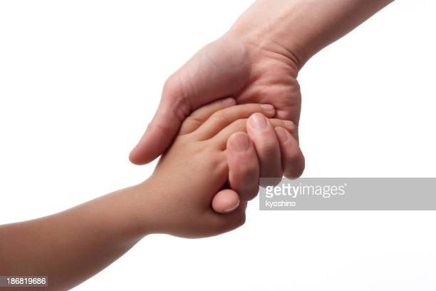 Mother giving hand to a child against white background