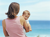 Mother holding baby boy (6-9 months) on beach, rear view of woman