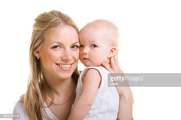 A mother holding her child isolated on white