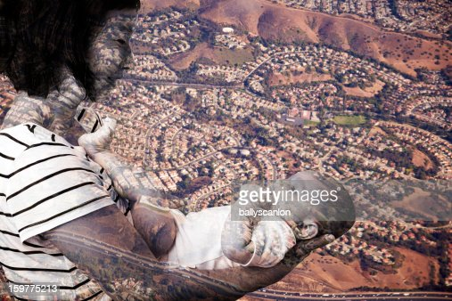 Mother Holding Son Suburbia, Double Exposure : Stock Photo
