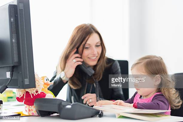 Mother in Office Call with her Daughter Life Balance