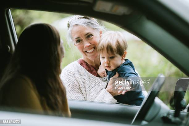 Mother Leaving Child with Grandmother