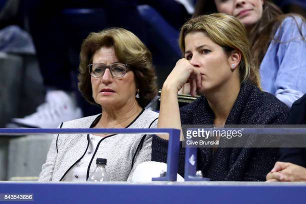 Mother Lynette Federer and wife Mirka Federer react as Roger Federer of Switzerland plays against Juan Martin del Potro of Argentina during their...