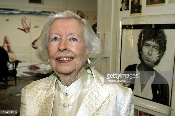 Mother of deceased artist Brett Whiteley Mrs Beryl Whiteley poses in her son's studio October 7 2004 after the announcement of the AUD $25000 Brett...