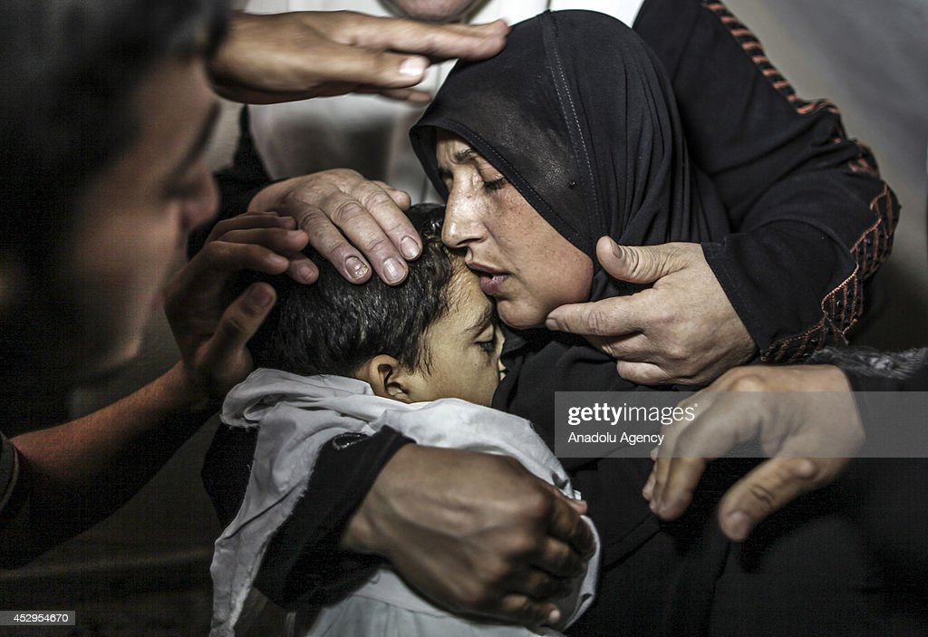 Mother of Palestinian Sameh Junaid killed in an Israeli cannon shot within the 'Operation Protective Edge' killed at least 1363 people including 315...