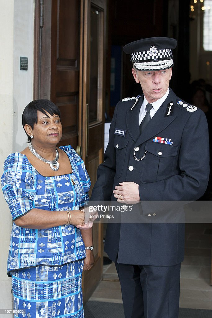 Mother of Stephen Lawrence, Doreen Lawrence and Bernard Hogan-Howe before a memorial service for Stephen Lawrence at St Martin-in-the-Fields Church on April 22, 2013 in London, England. Stephen Lawrence, a black A-level student was stabbed to death at a bus stop twenty years ago by a gang of white youths in a racially motivated attack in Eltham, south-east London, on April 22, 1993. Two men, Gary Dobson and David Norris were found guilty of his murder in January 2012.