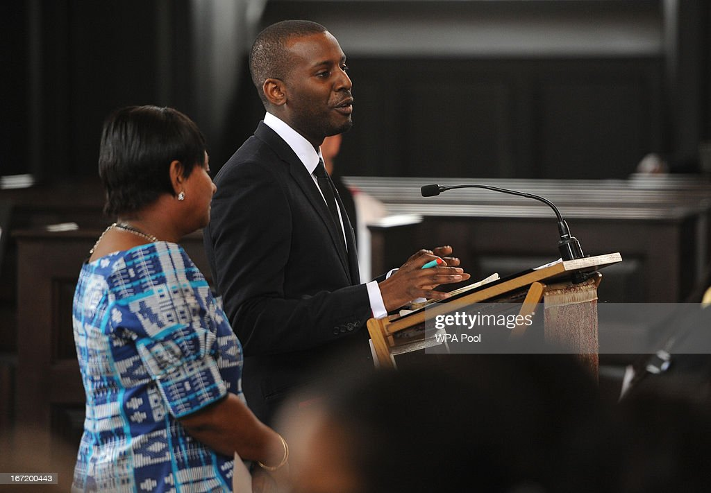 Mother of Stephen Lawrence, Doreen Lawrence, and her son Stuart Lawrence (R) make a speech during a memorial service for Stephen Lawrence at St Martin-in-the-Fields Church on April 22, 2013 in London, England. Stephen Lawrence, a black A-level student was stabbed to death at a bus stop twenty years ago by a gang of white youths in a racially motivated attack in Eltham, south-east London, on April 22, 1993. Two men, Gary Dobson and David Norris were found guilty of his murder in January 2012.