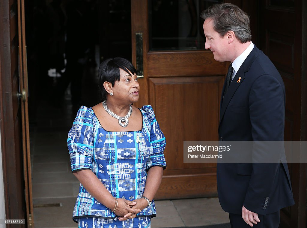 Mother of Stephen Lawrence, Doreen Lawrence meets British Prime Minister David Cameron a memorial service for Stephen Lawrence at St Martin-in-the-Fields Church on April 22, 2013 in London, England. Stephen Lawrence, a black A-level student was stabbed to death at a bus stop twenty years ago by a gang of white youths in a racially motivated attack in Eltham, south-east London, on April 22, 1993. Two men, Gary Dobson and David Norris were found guilty of his murder in January 2012.