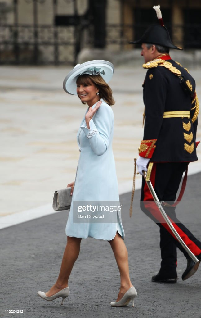 Mother of the bride <a gi-track='captionPersonalityLinkClicked' href=/galleries/search?phrase=Carole+Middleton&family=editorial&specificpeople=4079988 ng-click='$event.stopPropagation()'>Carole Middleton</a> arrives to attend the Royal Wedding of Prince William to Catherine Middleton at Westminster Abbey on April 29, 2011 in London, England. The marriage of the second in line to the British throne is to be led by the Archbishop of Canterbury and will be attended by 1900 guests, including foreign Royal family members and heads of state. Thousands of well-wishers from around the world have also flocked to London to witness the spectacle and pageantry of the Royal Wedding.