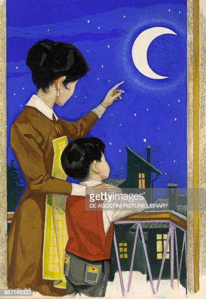 Mother on a balcony pointing out the moon and the starry sky to her son drawing