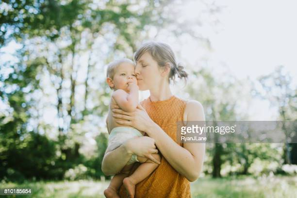 Mother Outdoors with Baby