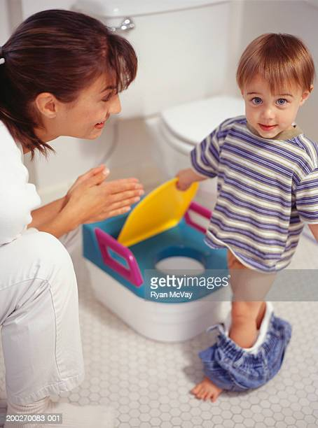 Mother potty training son (15-18 months)