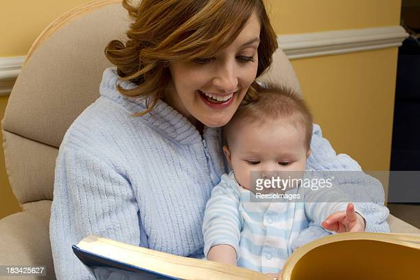 Mother reading to child at bedtime
