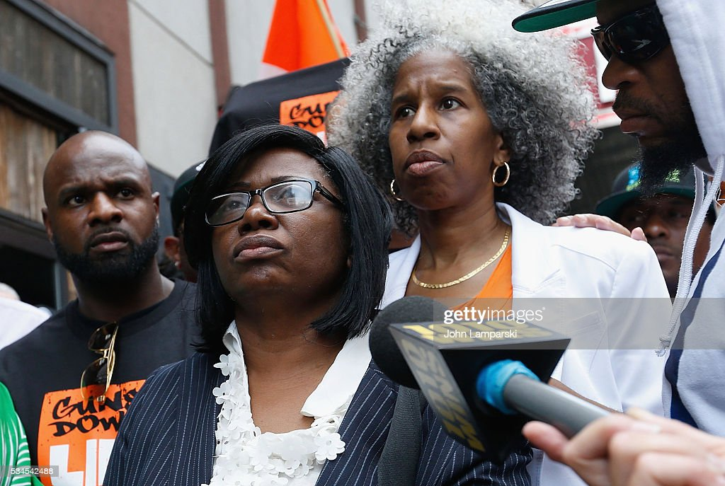 Mother Rose McPhatter , Erica Ford, and Brother of Ronald McPhatter, Shanduke McPhatter attend National Anti-Violence Community Press Conference at Irving Plaza with family of Ronald McPhatter, shooting victim at Irving Plaza on May 26, 2016 in New York City.