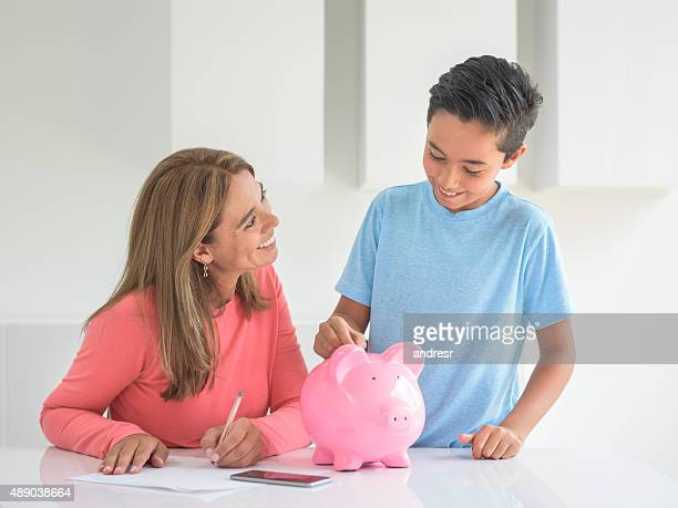 Mother saving for her boy's education