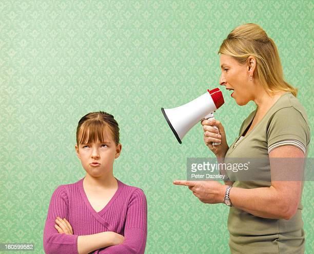 Mother screaming at daughter