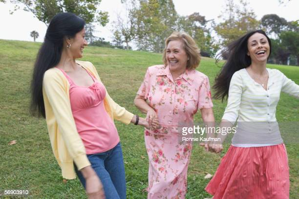 Mother sharing fun time with daughters