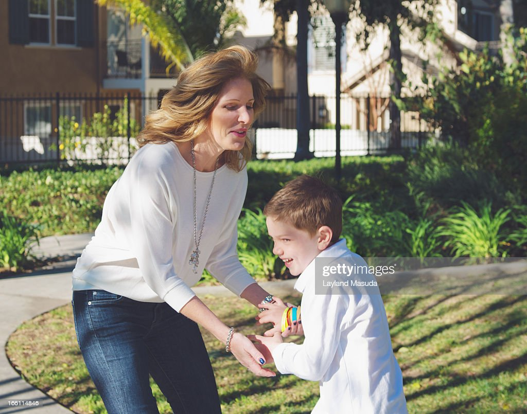 Mother Son Play - With Single Mom : Stock Photo